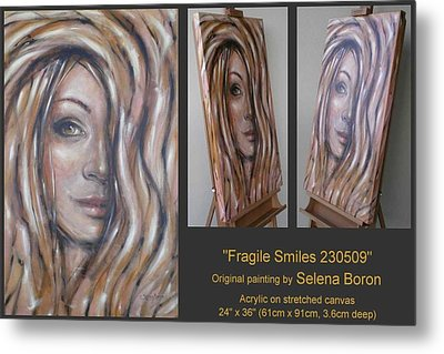 Metal Print featuring the painting Fragile Smiles 230509 by Selena Boron
