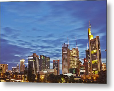 Frankfurt - Skyline In The Evening Metal Print by Olaf Schulz