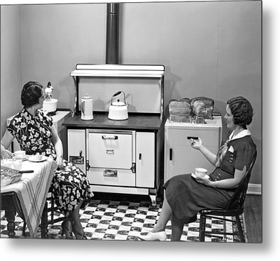 Fresh Baked Bread From Oven Metal Print by Underwood Archives