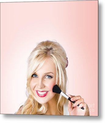 Fresh Faced Makeup Girl With Cosmetic Brush Metal Print by Jorgo Photography - Wall Art Gallery