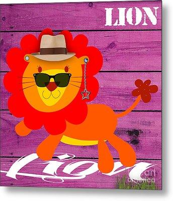 Friendly Lion Collection Metal Print
