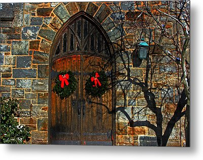 Front Door To Baldwin Memorial United Methodis Metal Print