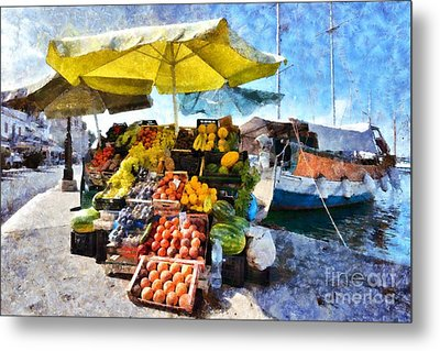 Fruits And Vegetable Store On A Boat In Aegina Port Metal Print by George Atsametakis