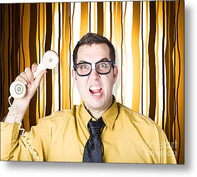 Frustrated Male Office Worker Yelling With Phone Metal Print by Jorgo Photography - Wall Art Gallery
