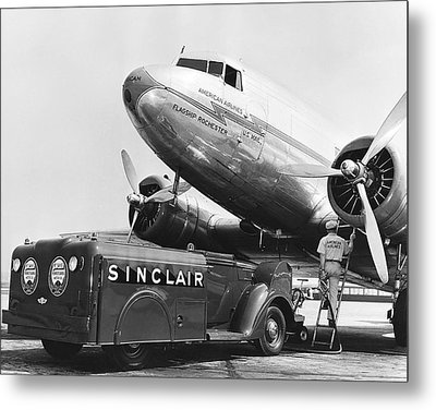 Fueling A Dc-3 Airliner Metal Print by Underwood Archives