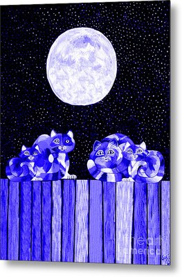 Full Moon Blues Cats Metal Print by Nick Gustafson