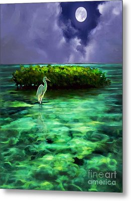 Metal Print featuring the painting Full Moon Fishing by David  Van Hulst