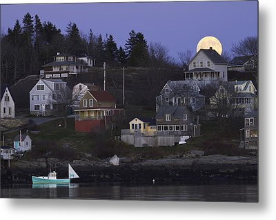 Full Moon Over Georgetown Island Maine Metal Print