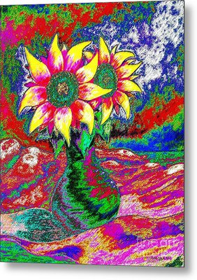 Metal Print featuring the painting Funky Sunflowers by Annie Zeno