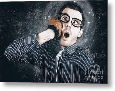 Funny Businessman Making Impact With Smashing Idea Metal Print by Jorgo Photography - Wall Art Gallery