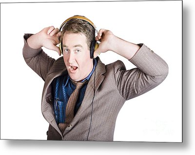Funny Businessman Wearing Earphones On White Metal Print by Jorgo Photography - Wall Art Gallery