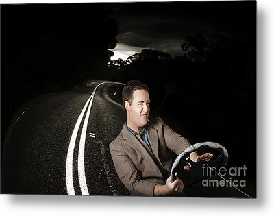 Funny Road Rage Man In Car Accident Metal Print by Jorgo Photography - Wall Art Gallery