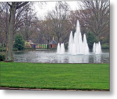 Furman Fountain Metal Print by Larry Bishop
