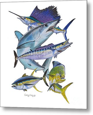 Gamefish Collage Metal Print by Carey Chen