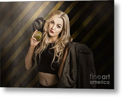 Gas Mask Pinup Girl In Nuclear Danger Zone Metal Print by Jorgo Photography - Wall Art Gallery