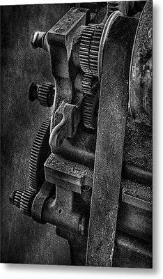 Gears And Pulley Metal Print by Susan Candelario