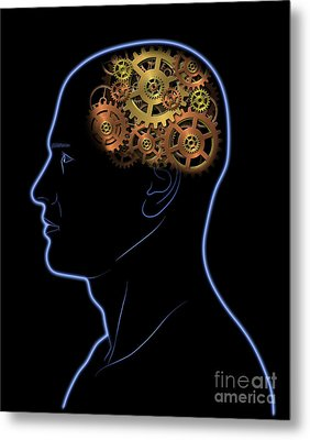 Gears In The Head Metal Print by Michal Boubin