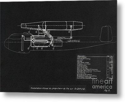 German Wwii Ramjet Bomber Blueprint Metal Print