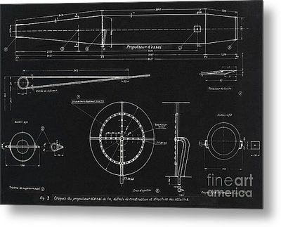 German Wwii Ramjet Engine Blueprint Metal Print