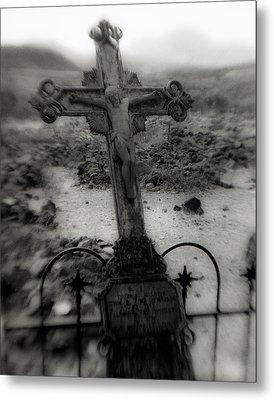 Ghost Town Cross Metal Print by Sonja Quintero