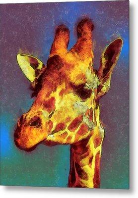 Giraffe Abstract Metal Print by Ernie Echols