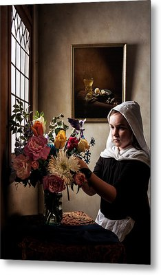 Girl Arranging A Flower Bouquet In A Glass Vase Metal Print