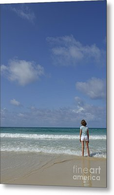 Girl Contemplating Ocean From Beach Metal Print by Sami Sarkis