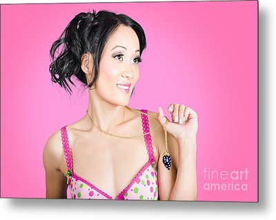 Girl Wearing Exquisite Jewelry On Pink Background  Metal Print
