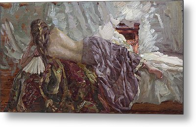 Girl With A Fan Metal Print by Korobkin Anatoly