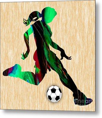 Girls Soccer Metal Print by Marvin Blaine