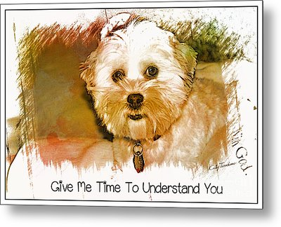 Metal Print featuring the digital art Give Me Time To Understand You by Kathy Tarochione