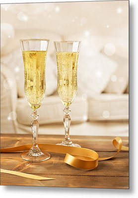 Glasses Of Champagne Metal Print by Amanda Elwell