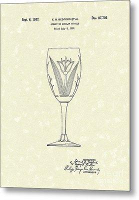 Goblet 1932 Patent Art Metal Print by Prior Art Design