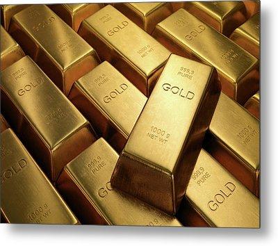 Gold Bullion Metal Print by Ktsdesign