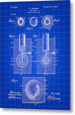 Golf Ball Patent 1902 - Blue Metal Print