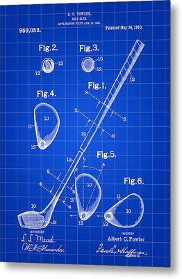 Golf Club Patent 1909 - Blue Metal Print by Stephen Younts