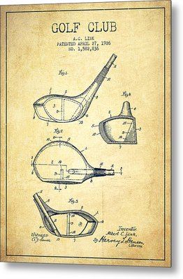 Golf Club Patent Drawing From 1926 - Vintage Metal Print by Aged Pixel