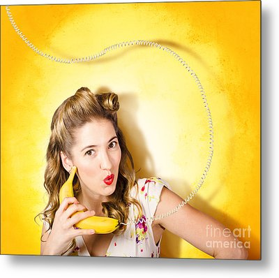 Gossiping Retro Pin Up Girl On Fruit Phone Metal Print by Jorgo Photography - Wall Art Gallery