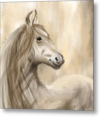 Gracious Wild- Cream And Brown Painting Metal Print by Lourry Legarde