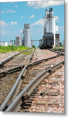Grain Elevators And Railway Metal Print