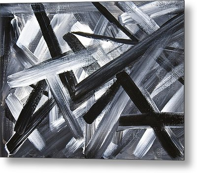 Metal Print featuring the painting Gray Matter Breaking Through The Darkness by Tracey Myers