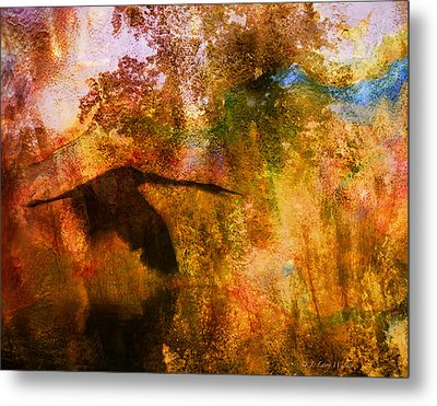 Metal Print featuring the digital art Great Blue Heron Abstract by J Larry Walker