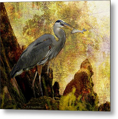 Metal Print featuring the digital art Great Blue Heron Morning Snack by J Larry Walker