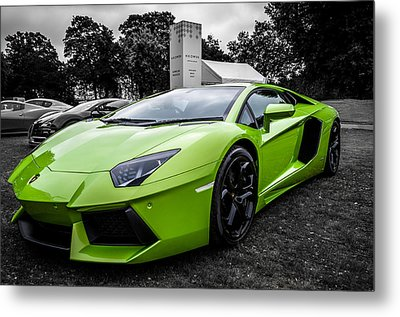 Metal Print featuring the photograph Green Aventador by Matt Malloy