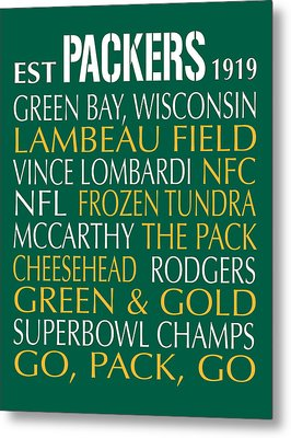 Green Bay Packers Metal Print by Jaime Friedman