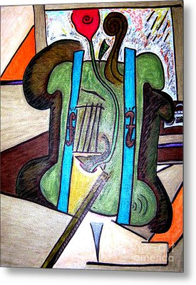 Green Cello Plants In A Pot Metal Print by Lois Picasso