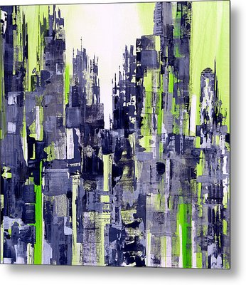 Metal Print featuring the painting Green City by Katie Black
