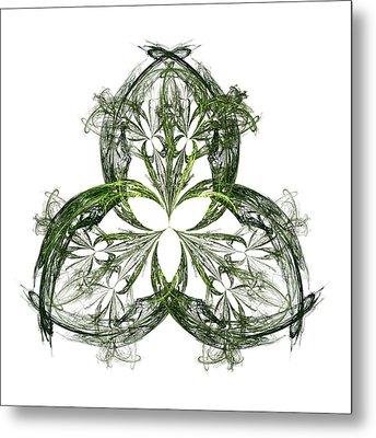Green Irish Shamrock Fractal Motif Metal Print by Jane McIlroy