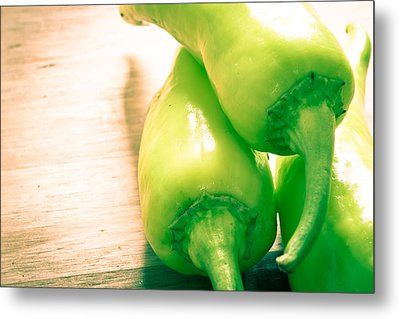 Green Jalapeno Peppers Metal Print by Tom Gowanlock