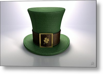 Green Leprechaun Shamrock Hat Metal Print by Allan Swart